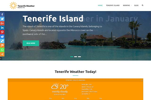 Desarrollo web de blog Tenerife Weather
